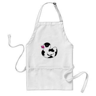 Black and White Cow Print Rubber Duck Adult Apron