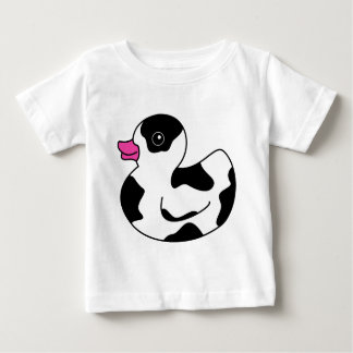 Black and White Cow Print Rubber Duck Baby T-Shirt