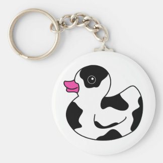 Black and White Cow Print Rubber Duck Basic Round Button Keychain