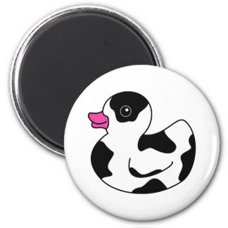Black and White Cow Print Rubber Duck Magnet