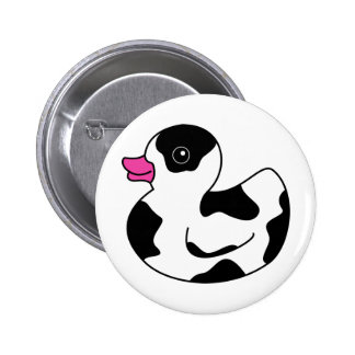 Black and White Cow Print Rubber Duck Pinback Button