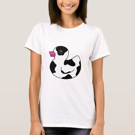 Black and White Cow Print Rubber Duck T-Shirt