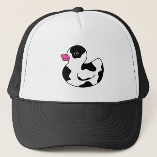 Black and White Cow Print Rubber Duck Trucker Hat