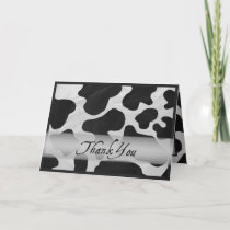 Black and White Cow Print Thank You