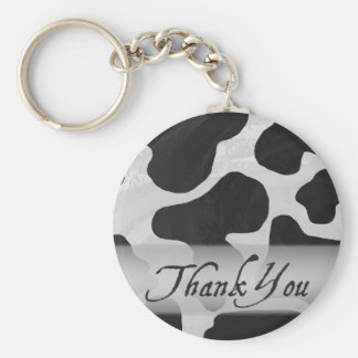 Black and White Cow Print Thank You Basic Round Button Keychain