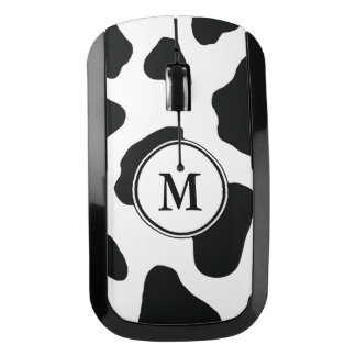 Black and White Cow Print with Custom Monogram Wireless Mouse