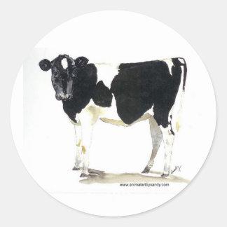 black and white cow round sticker