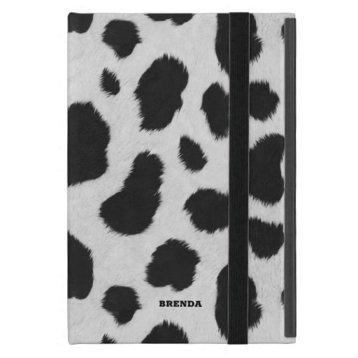 Black and white cow spots pattern fur texture case for iPad mini