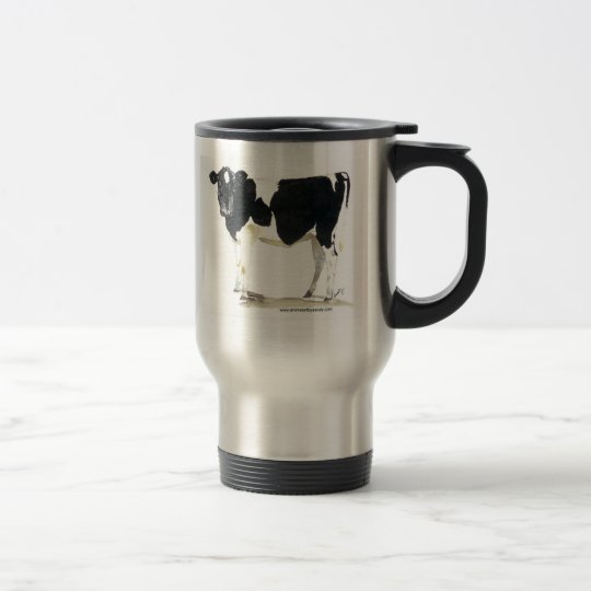 black and white cow travel mug