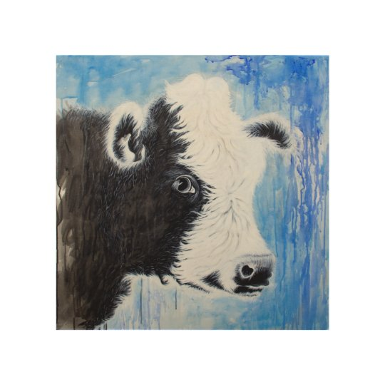 Black Cow Wall Decor : Black and white cow wood wall art zazzle