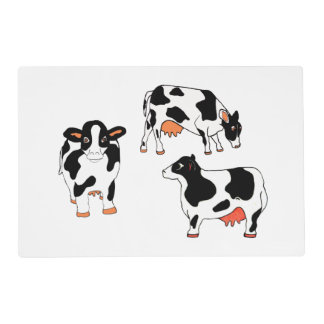 Black and White Cows Laminated Placemat