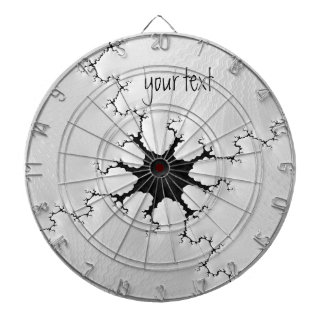 Black and White Cracked Fractal Art Add Your Name Dartboard