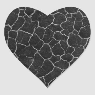 Black and White Crackle Heart Sticker