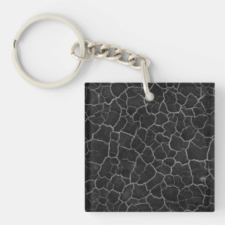 Black and White Crackle Keychain