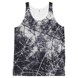 Black and White Crackle Lacquer Grunge Texture All-Over Print Tank Top