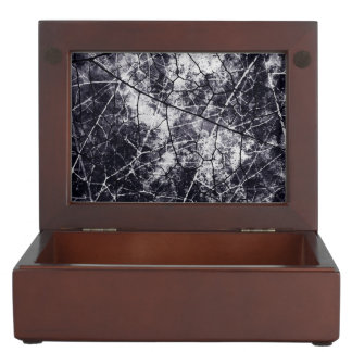 Black and White Crackle Lacquer Grunge Texture Memory Box