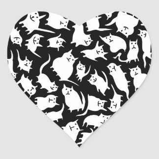 Black and White Crazy Cats Heart Stickers