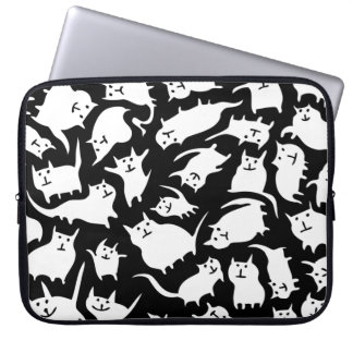 Black and White Crazy Cats Laptop Sleeve