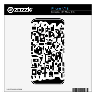 Black and white crazy decor skin for iPhone 4