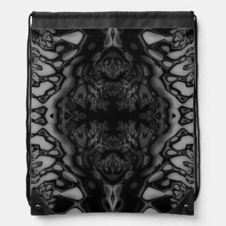 Black and White Crazy Fractal/Kaleidoscope Bag Drawstring Backpack