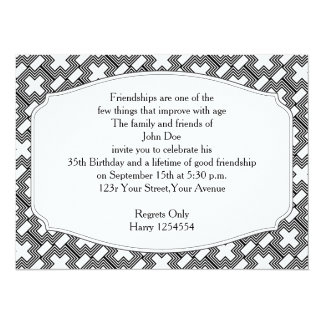 Black and White Cross  Art Deco Geometric Personalized Invite