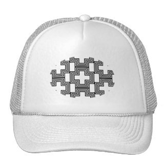 Black and White Cross  Minimalist Geometric Trucker Hat