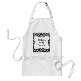 Black and White Crosses Plus Signs Pattern Adult Apron