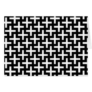 Black and White Crosses Plus Signs Pattern Card