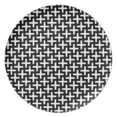 Black and White Crosses Plus Signs Pattern Plates