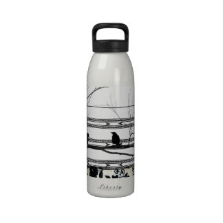 Black and White Crows and Heart Drinking Bottle