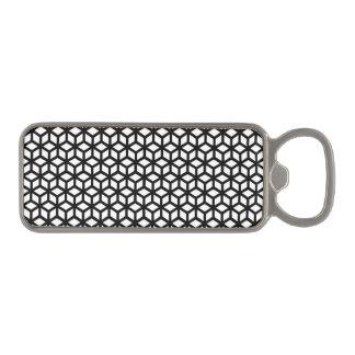 Black And White Cube Pattern Magnetic Bottle Opener