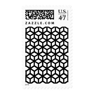 Black And White Cube Pattern Postage