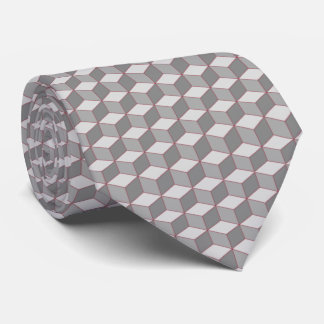 black and white cubes with red accent tie