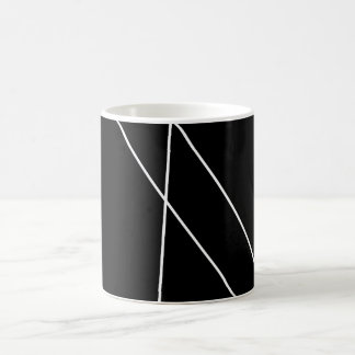Black and white cup with modern lines.