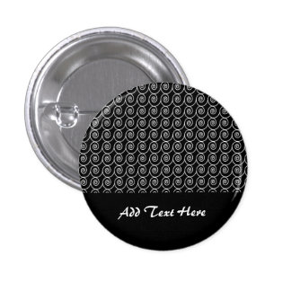 Black and White Curlie Cue Pattern Pinback Button