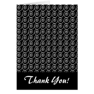 Black and White Curlie Cue Pattern Stationery Note Card