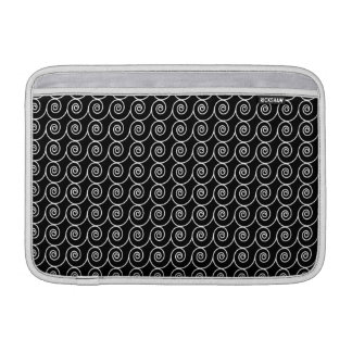 Black and White Curlie Cue Pattern MacBook Sleeves