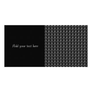 Black and White Curlie Cue Pattern Photo Card