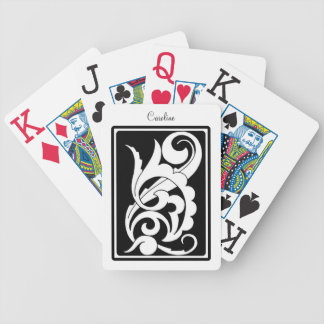 Black and White Curls and Swirls Bicycle Playing Cards