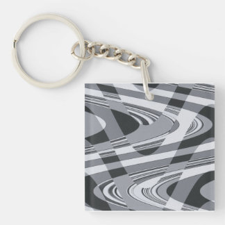 Black and White Curves Single-Sided Square Acrylic Keychain