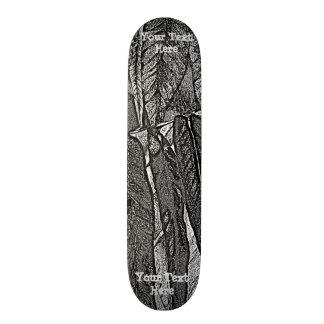 black and white curves modern abstract leaf design skateboard