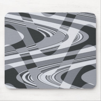 Black and White Curves Mouse Pad