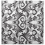 Black and White Curvy Pattern Cloth Napkins