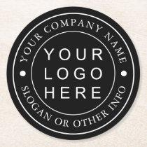 Black and White Custom Company Business Logo Round Paper Coaster