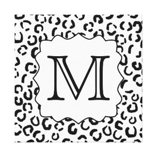 Black and White Custom Monogram Leopard Print. Canvas Print