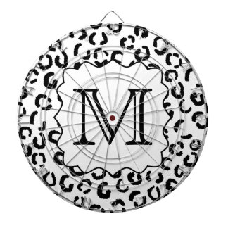 Black and White Custom Monogram Leopard Print. Dartboard With Darts