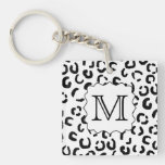 Black and White Custom Monogram Leopard Print. Acrylic Key Chain