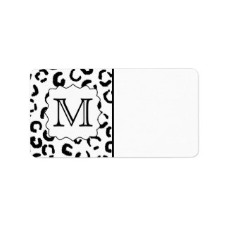 Black and White Custom Monogram Leopard Print Custom Address Label