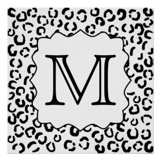 Black and White Custom Monogram Leopard Print. Poster