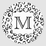 Black and White Custom Monogram Leopard Print. Stickers